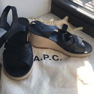 APC leather and suede heeled sandal